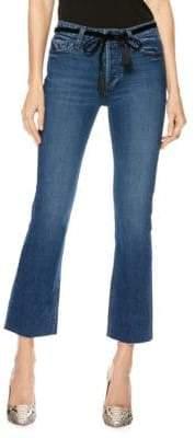 Paige Collette Vintage High-Rise Crop Raw Hem Flare Jeans