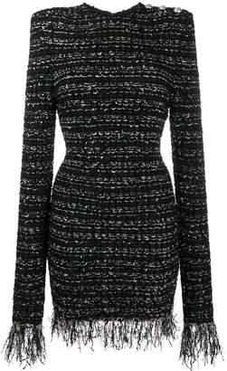 Balmain tweed frayed edge dress