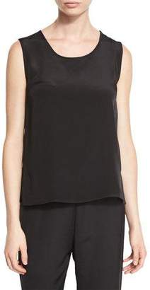 Caroline Rose Mid-Length Silk Crepe Tank Top, Black, Petite
