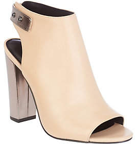 Halston H by Leather Peep-Toe Bootie with BlockHeel - Natalie