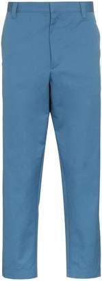 Prada straight leg orange trim trousers