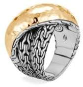 John Hardy Chain 18K Gold& Silver Crossover Ring
