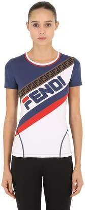 Fendi Mania Logo Printed Lycra T-Shirt