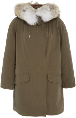 Yves Salomon Paris Coyote-Trimmed Rabbit-Lined Cotton Army Parka