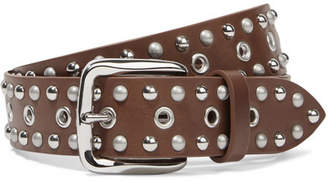 Isabel Marant - Rica Studded Leather Belt - Chocolate $295 thestylecure.com