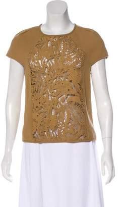 Tibi Guipure Lace Short Sleeve Top