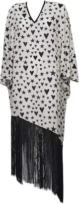 Fausto Puglisi Stars & Hearts Print Tasseled Dress