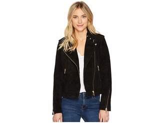 Blank NYC Black Suede Moto Jacket in Onyx
