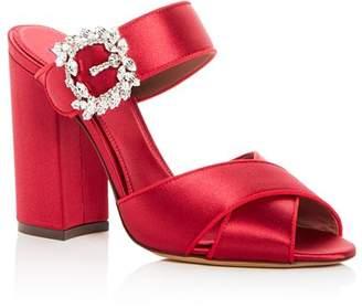 Tabitha Simmons Women's Reyner Embellished Satin High Block Heel Slide Sandals