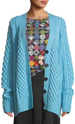 Button-Front Chunky Cable-Knit Merino Wool Cardigan