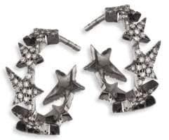 """Diane Kordas Star Diamond Line 18K Black Gold Hoop Earrings/0.5"""""""