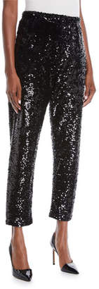 Joan Vass Sequined Slim Ankle Pants, Petite