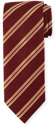 Canali Textured Stripe Silk Tie, Burgundy