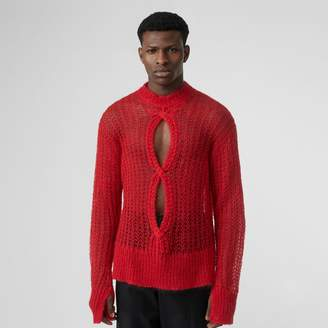 Burberry Open Knit Mohair Wool Blend Sweater