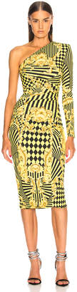 Versace Printed One Shoulder Cocktail Dress