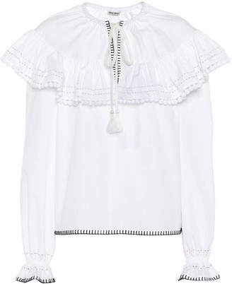 Miu Miu Embroidered cotton blouse