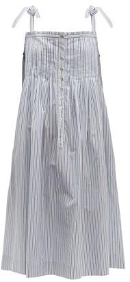 Loup Charmant Kapari Striped Cotton Poplin Dress - Womens - Blue White