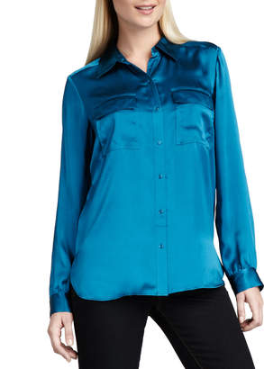 Go Silk Charmeuse Button-Front Blouse, Teal, Plus Size