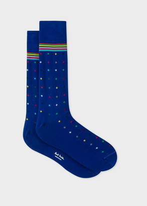 Paul Smith Men's Cobalt Blue Diamond Dot Socks