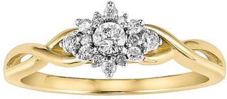 MODERN BRIDE Womens 1/4 CT. T.W. Genuine White Diamond 10K Gold Flower Engagement Ring