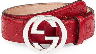 Gucci Interlocking G-Buckle Leather Belt $390 thestylecure.com