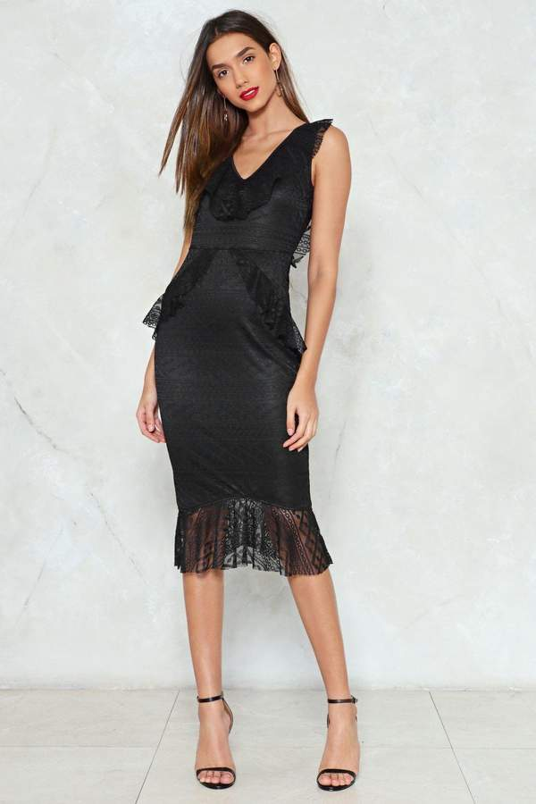 nastygal Lace Face It Midi Dress