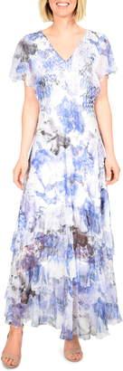 Komarov Floral Charmeuse & Chiffon Maxi Dress