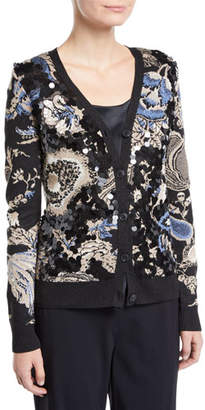 Tory Burch Giselle Sequined Print Cardigan