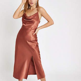 River Island Rust satin lace cowl neck maxi dress