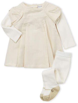 Absorba Newborn Girls) Two-Piece Metallic Dress & Tights Set