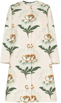By Walid Tanita lotus flower print coat