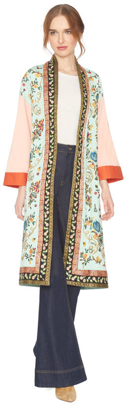 Alice + Olivia Amelia Embroidered Oversized Coat
