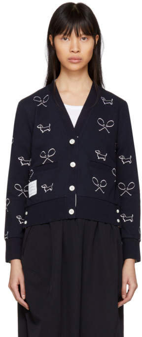 Navy Classic Piqué Shadow Embroidery Cardigan
