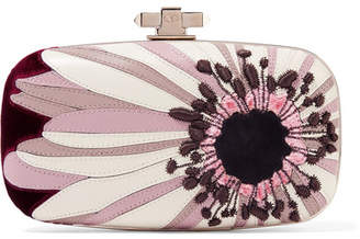 Valentino Carry Secrets Velvet And Suede-trimmed Embroidered Leather Clutch - Purple
