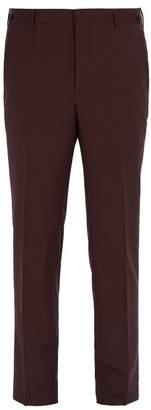 Prada Straight Leg Wool Blend Trousers - Mens - Burgundy