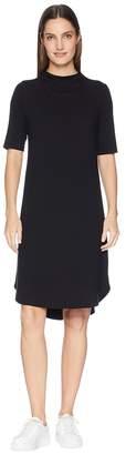 Eileen Fisher Viscose Jersey Drape Neck Elbow Sleeve Dress Women's Dress