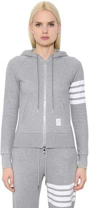 Thom Browne INTARSIA COTTON JERSEY ZIP-UP SWEATSHIRT