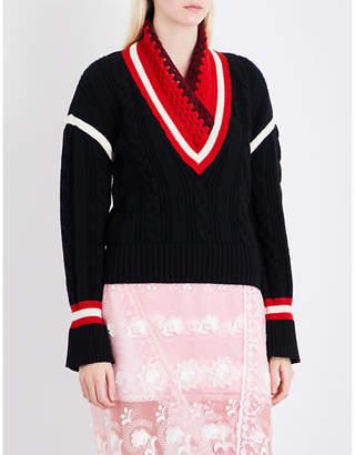 Burberry Crochet-knit wool and cashmere-blend cricket jumper