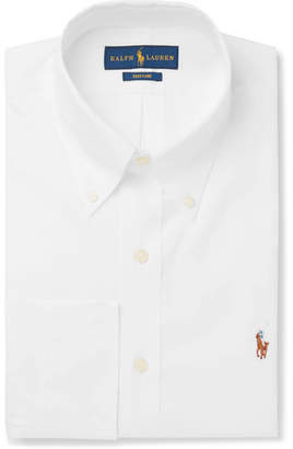 Polo Ralph Lauren White Button-Down Collar Cotton-Poplin Shirt