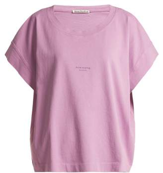 Acne Studios Tohnek Logo Print Cotton T Shirt - Womens - Pink
