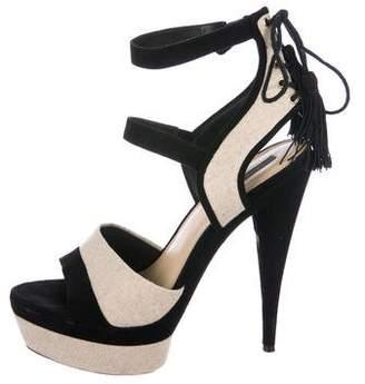 Rachel Zoe Velvet-Trimmed Platform Sandals