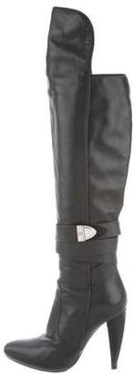 Versace Leather Semi-Pointed Knee-High Boots