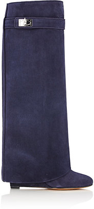 Givenchy Women's Shark Line Knee Boots-NAVY $2,125 thestylecure.com