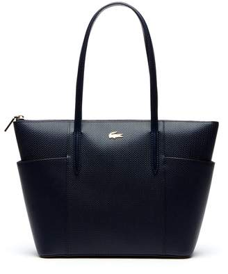 Lacoste Women's Chantaco Pique Leather Zip Pockets Tote Bag