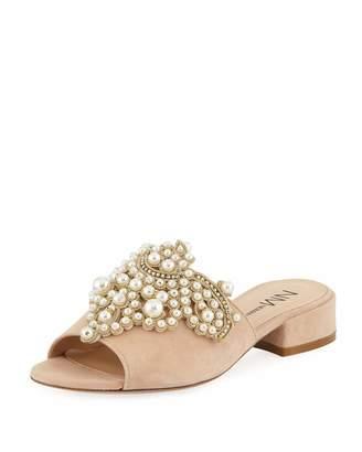 Neiman Marcus Delphinea Embellished Suede Slide Sandal