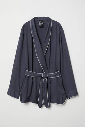 H&M Pajama Jacket with Tie Belt - Blue