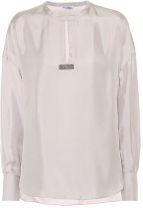 Brunello Cucinelli Embellished silk twill top