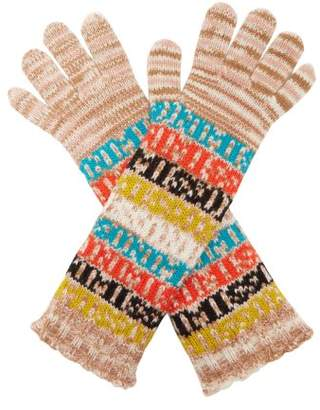 Missoni Logo And Stripe Wool Gloves - Womens - Brown