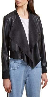 French Connection Anabelle Faux-Leather Drape Jacket