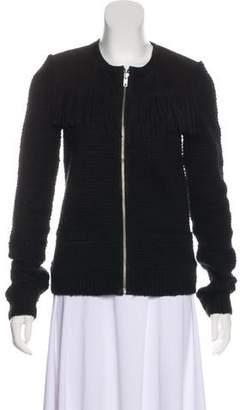 The Kooples Leather-Paneled Knit Jacket